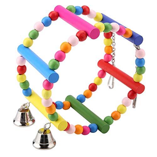 Giocattolo dell'oscillazione dell'uccello variopinto, pappagallo in piedi di legno del pappagallo Rotella rotonda del giocattolo che appende la decorazione della gabbia del giocattolo da masticare per