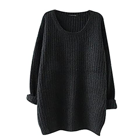 YouPue Casual Femmes Pull En Vrac Manches Longues Col Rond Section Mince Pull Sweater Casual Tricot Chandail Tops Blouse Automne Et Hiver Noir