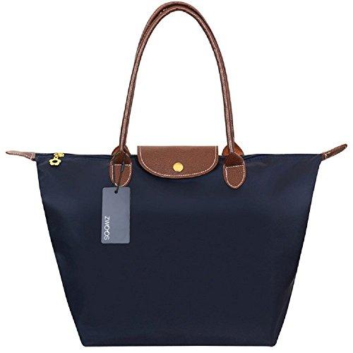 Handbag a Spalla – ZWOOS Borsa di modo Borsa della spesa Impermeabile borsa a tracolla Nylon Tote Bag per le Donne (L, Blu)