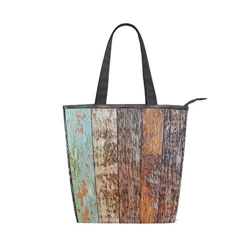 LAZEN Stilvolle Leinwand Tote Bag Handtasche 14 x 4,5 x 15 Zoll niedlich schöne Holz Plank Muster