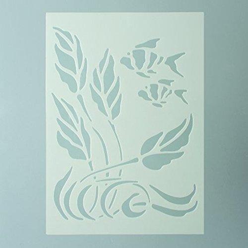 EFCO-Pesci Design Stencil in 1, plastica, trasparente, formato A5