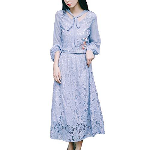 Olprkgdg Freizeit-Spitzenkleid, Top + Büste-Rock, Zweiteiliger Anzug, Büroangestellter Studentenkleid (Color : Blue, Size : M) -