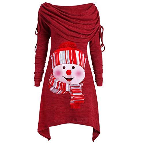 BHYDRY Herbstmode Damen Pullover Longpullover Kragen Tunika Falten Shirt Damen Loose Asymmetrisch Sweatshirt Long Top Oversize Pullover Oberteile Langarmshirt Große Größen (XXL, Z-Rot)
