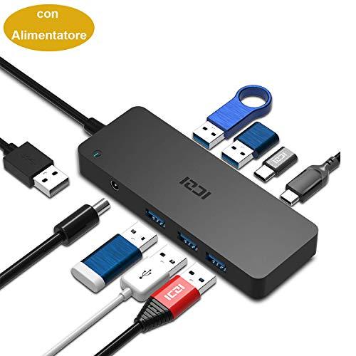 iczi Hub USB 3.0à 5ports USB 3.0+ 2ports uSB c/f + Adaptateur d'alimentation, noir