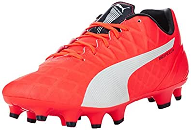 Puma Men's evoSPEED 4.4 FG Lava Blast, White and Total Eclipse Football Boots - 6 UK/India (39 EU)