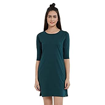 clearance sale pretty nice clearance sale The Souled Store Solids: Bottle Green T-Shirt Dress Plain ...