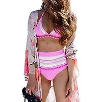 Amusement 1 * Traje de baño sexy de cintura alta para mujer con bola de malla con borla bola de malla adecuado para deportes al aire libre natación, Rosa-XL