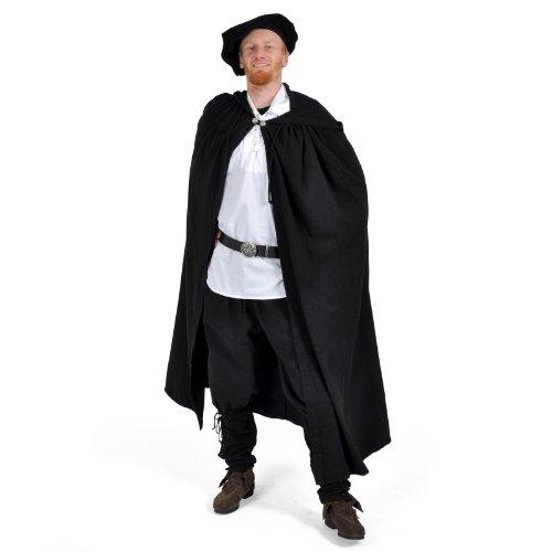MITTELALTER CAPE UMHANG GOTHIC LARP KNECHT WGT VAMPIR 5003 Schwarz (Renaissance Kostüm Knecht)