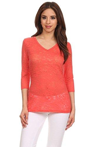 2luv-womens-solid-3-4-sleeve-v-neck-burnout-top-orange-l-s1795