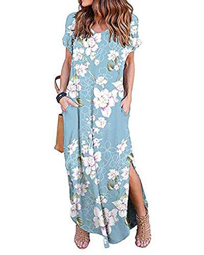Kidsform Femme Robe Longue d'été Boheme Manches Courtes Grande Taille Chic Maxi Robe de Plage Col Rond Fleurie Casual Rode de Soirée Cocktail Y-Lys Bleu 38 EU (Fabricant: Taille M)