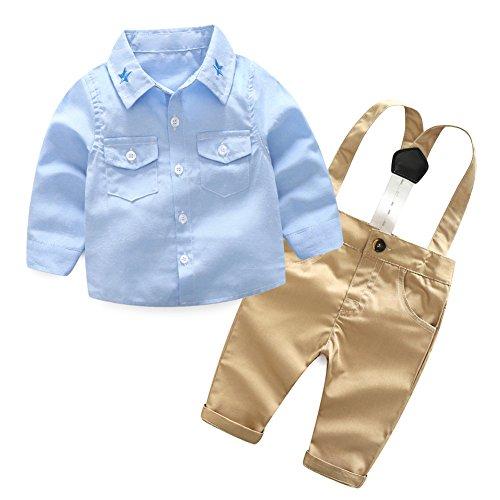 2be5262c3e6f5b Baby-Jungen Langarm-Hemd-Hosen-Kleidungs-Set mit Hosenträgern 2 Stück  Gentleman-Anzug von Shiningup