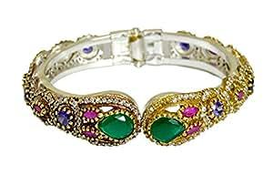 Gauri's Multi Gemstone Turkish Victorian Style Silver Plated Design Bracelet AIVB504