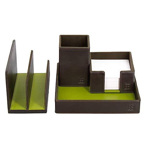DUDU Schreibtisch-Set aus Leder für das Büro 4-teilig mit Taschenleerer Stifthalter Briefhalter Zettelbox Woods -