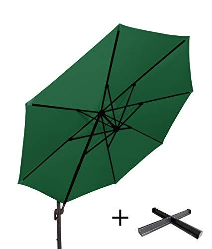 """Derby Doppler Hochwertiger XXL Ampelschirm Ravenna 350"""" in dunkelgrün, neigbar, 360 Grad drehbar, UV-Schutz 50 Plus, inklusive Plattenständer"""