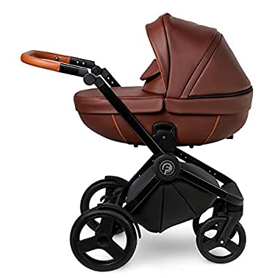 Krausman Kinderwagen 3 in 1 Topaz Lux Brown Kombikinderwagen Babyschale Babywanne Sportwagen Design Made In Germany