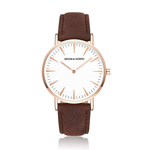 JOESON LEADERS Damen Uhr Analog Quarz mit Leder Armband