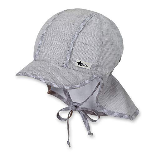 Sterntaler Schirmmütze für Jungen mit Bindebändern und Nackenschutz, Alter: 18-24 Monate, Größe: 51, Rauchgrau -