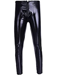 iEFiEL Herren Strumpfhosen Wetlook Glanz Lack-Optik schwarz Leggings Enge Hosen Unterwäsche Pants