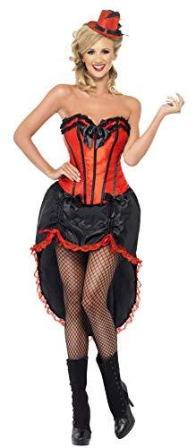 Smiffys, Damen Burlesque Tänzerin Kostüm, Korsett und einstellbarer Rock, Größe: M, 42336 (Tänzerin Halloween Kostüm Burlesque)