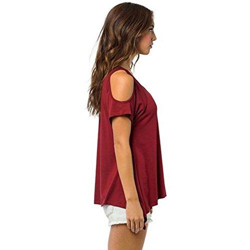 ROPALIA Damen Schulterfrei T-Shirt Sommer kurze Ärmel Casual Tops Bluse 32-46 Red
