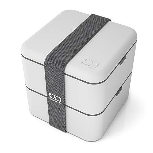 monbento MB Square La caja bento cuadrada, PP + Silicona + Elastano, Coton, 140 mm (largo) x 140 mm (ancho) x 140 mm (alto), 850 ml + 850 ml