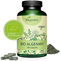BIO SPIRULINA + CHLORELLA + YODO Vegavero® | Antioxidante + Detox + Energía | Rico en Clorofila + Ficocianina | 180 Cápsulas | Testada en Laboratorio | Apto Para Veganos | Sin Aditivos