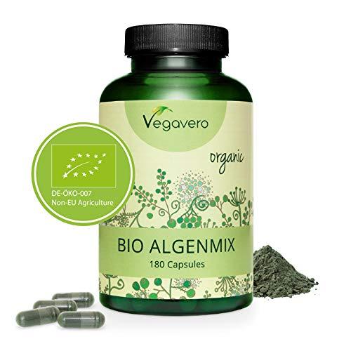 VEGAVERO® BIO Spirulina + Chlorella + Kelp Kapseln | 100% BIO | Höchste Tagesdosis - 1.954 mg Algenpulver | ROHKOSTQUALITÄT | Umfangreich Laborgeprüft | Ohne Zusatzstoffe | Vegan -