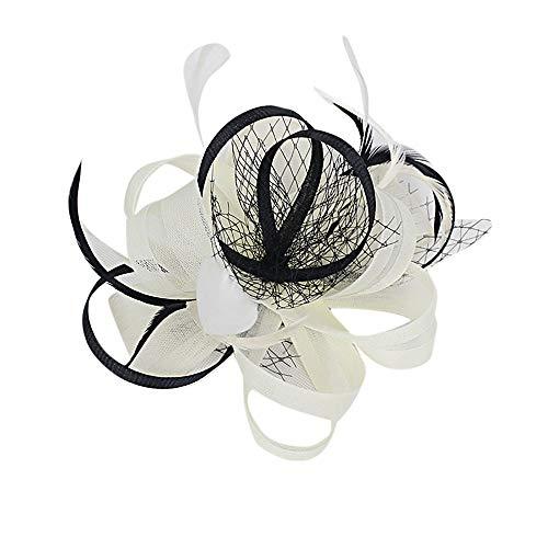 (TEBAISE Damen Hut Blume Mesh Bänder Federn auf Einem Stirnband und Einem geteilten Clip Cocktail Tea Party Headwear für Mädchen und Frauen Weihnachten Karneval)