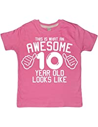 This What AN Awesome 10 Year Old Looks Like Bubblegum Pink Girls 10th Birthday T-Shirt In Size 9-11 Years With A White Glitter Print