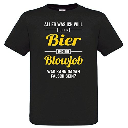 Fun T-Shirt mit witzigem SEX-Aufdruck - Alles was ich will ist ein Bier und ein Blowjob - Was kann daran falsch sein?