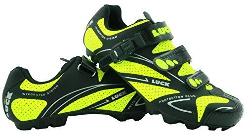 zapatilla de ciclismo LUCK TEAM REVOLUTION MTB , con suela de carbono y cierre milimétrico de precisión.(46 EU , amarillo)