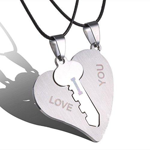 Veuer Partner Schmuck 2 Ketten Liebe Schlüssel Herz Ich Liebe Dich Geschenk zu Weihnachten für Frauen , Freundin , Ehe-Frau