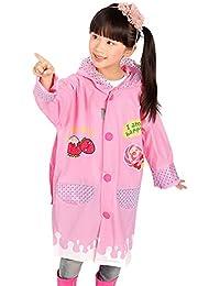 Happy Cherry Infantil Chubasquero Impermeable Divertido de Dibujo Animado Cartoon Rain Coat para Niños Niñas Colegio Escuela