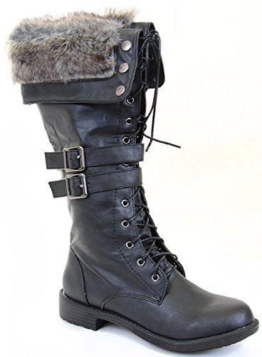 fourever Funky Mujer Piel vegana Fur Cuff Cordones correas Vegan rodilla botas, color Negro, talla 39,5 EU (M)