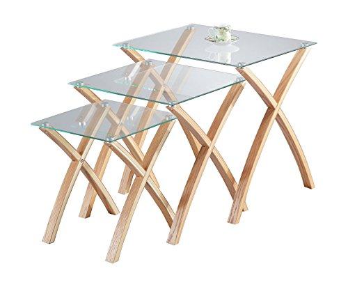 ASPECT Miami Lot de 3/3/3 gigognes Table en Verre trempé, Pieds en Bois Massif – Clair/chêne, Bois Clair,