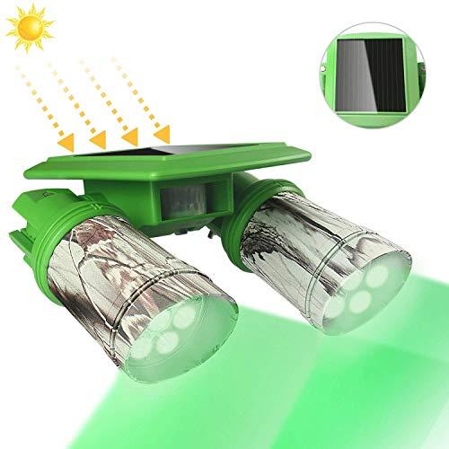 TRAIL WATCHER Feeder Licht Grünes LED-Licht Bewegungsaktivierter Sensor Solar Wasserdicht Drehbar zum Schwein Raubtier Kojote Ziege Nachtjagd (Solar)