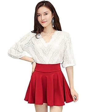 XFentech Transpirable mujeres de talla grande de color sólido de cintura alta stretch cintura falda, Vino rojo...