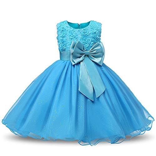 KOKOUK Kids Girls Xmas Party Dress Flower Formal Wedding Bridesmaid Princess Dresses (Light Blue)