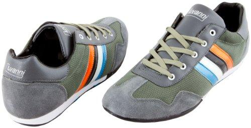 LUVANNI Herren Sneaker Turnschuh Freizeitschuh mit echtem Leder, Farbe Grau, Gr. 42