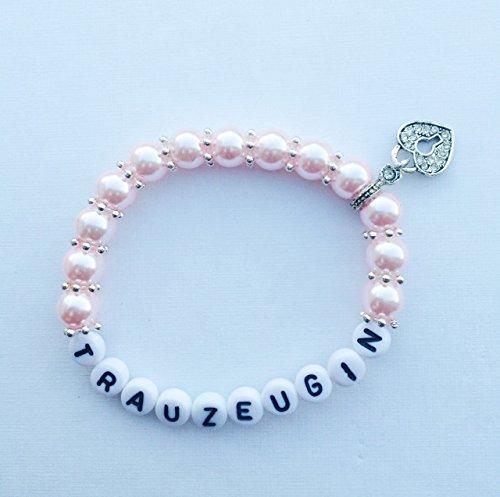 Buntermix Perlenarmband Trauzeugin oder Brautjungfer für Ihre Hochzeit, Armband gerne auch mit Namen personalisiert (Trauzeugin rosa)