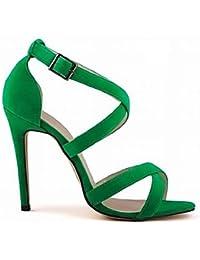 zhENfu Zapatos de mujer Tacones Stiletto talón de tela / Open toe sandalias Fiesta/Más colores,verde,US8 / UE39 / UK6 / CN39