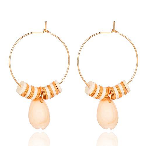 Zuiaidess orecchini a bottone donna,naturali unici big shell orecchini pendenti per le donne alla moda di colore giallo orecchini a pendente fascino gioielli doni