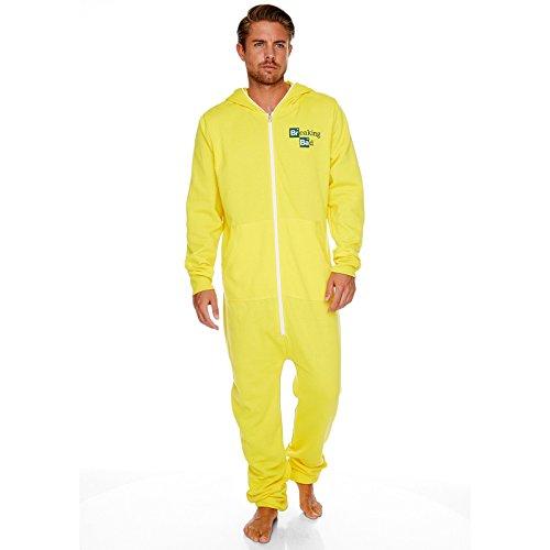 Breaking Bad Heisenbergs Laboranzug Overall Jumpsuit für Erwachsene mit Serienlogo lizenziert das Geschenk gelb