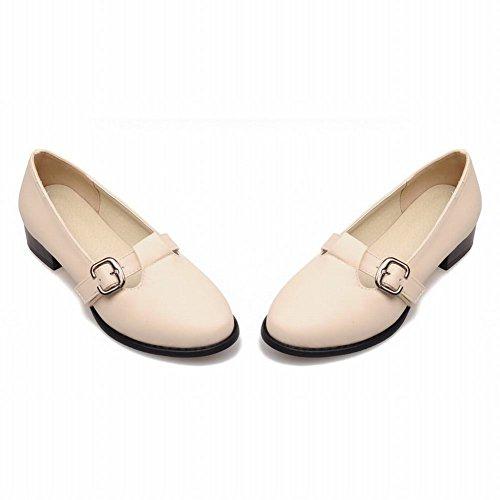 Mee Shoes Damen bequem süß runder toe Geschlossen Schnalle-Dekoration Niedrig chunky heel Pumps Beige