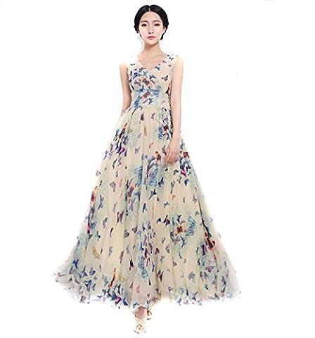 EJY Femme - mousseline de soie Bohême - Plage habille - papillon impression-robe longue-sans manches (M)