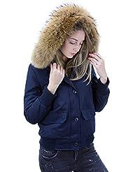 DSguided Damen Parka Winterjacke Fliegerblouson mit Fur Kapuze Echtfell Jacke Bomberjacke