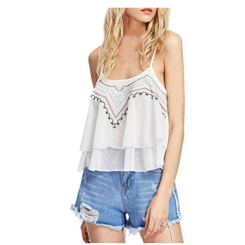 Bekleidung Longra Damen Sommer Tops Casual ärmellos Spitze Chiffon Crop Top Weste Hemd Bluse Cami Tanktop White