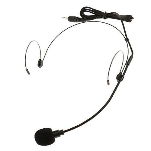 MagiDeal Mikrofon Headset Bügelkopfhörer Doppelohrhaken Kondensator-Mikrofon - Schwarz - Schwarz - 3.5mm gerader Winkel