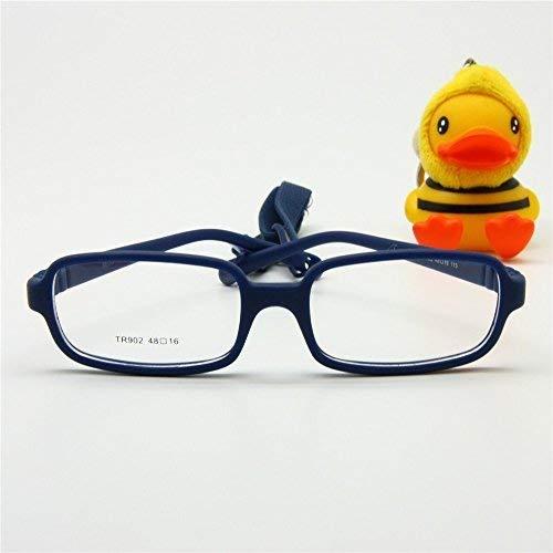 EnzoDate Kinder Brillengestell mit Gurtgröße 48, einteilige Kinderbrille mit Kordel, keine Schraube Flexible Mädchen Jungen Brille (navy)