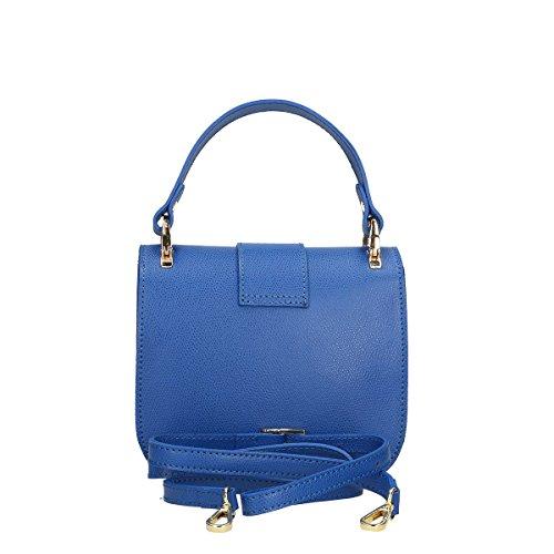 Chicca Borse Borsa a mano in pelle 19x17x7 100% Genuine Leather Blue